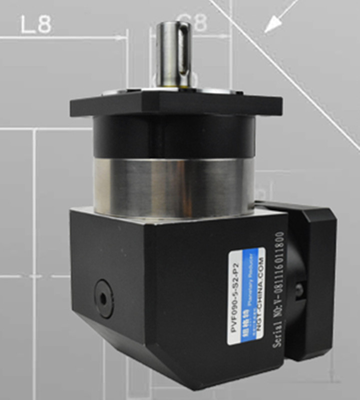 PVF90-L2 90mm 90 degree right angle planetary gearbox reducer Ratio 12:1 to 100:1 for 750w 80 AC servo motor high precision 3 stages lrh90 19mm 12 arcm planetary gear reducer disc type ratio 80 1 100 1 for nema32 80mm servo motor