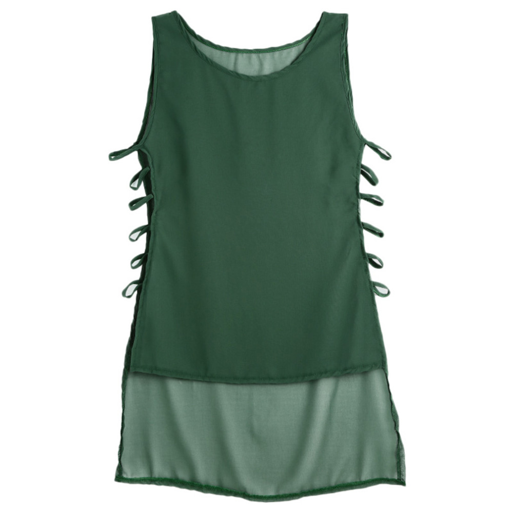 Summer Sexy Women Sleeveless - High Low Tank Tops Vintage Bandage Blouse Casual 5