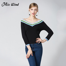 Mix Wind 2017 Autumn And Winter New Women's Big V-Collar Body Sweater Hit the Color Hit The Elastic Stretch Sweater