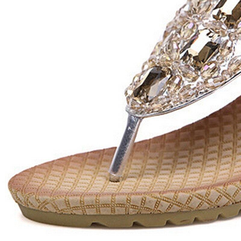 Women Wedge Sandal Bling Rhinestone Flip Flops Casual Silver Gold ... 026cc5479fc6