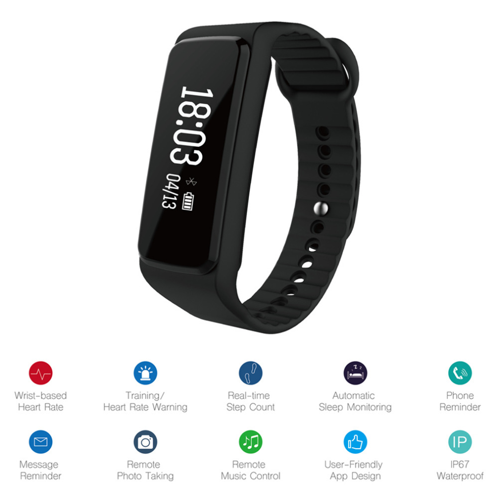 IPX7 Waterproof Fitness Tracker Bluetooth 4 0 Sport Bracelet Sleeping Heart Rate Monitoring Smart Band Wristband