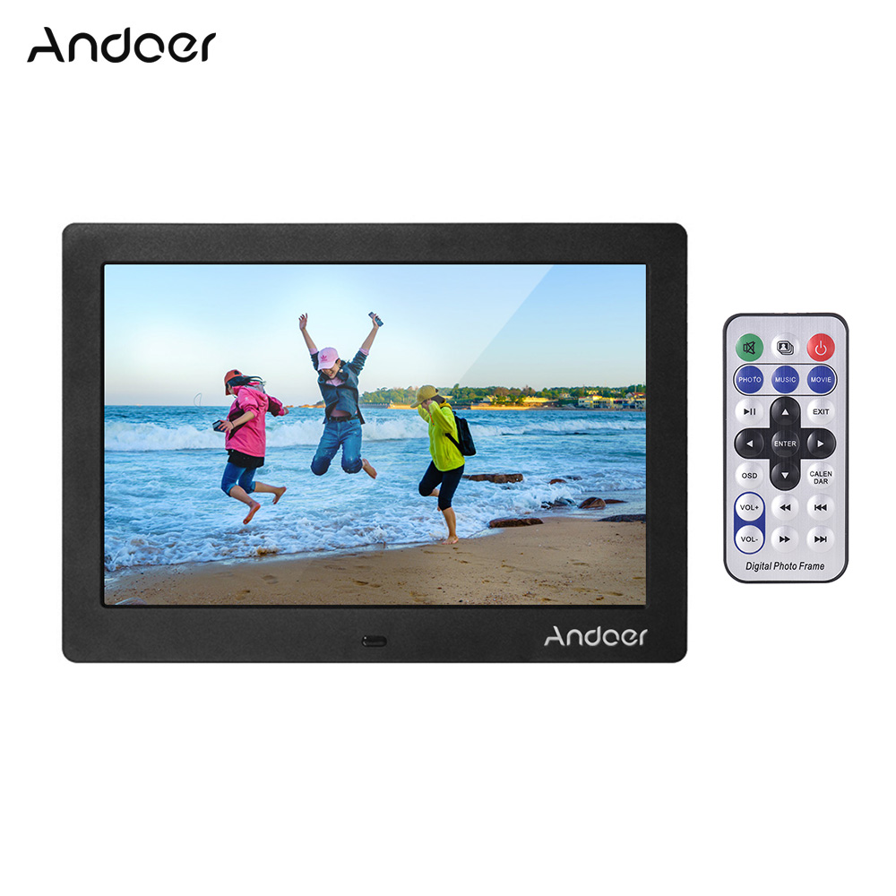 Andoer 10 Digital Picture Photo Frame IPS Full View Screen Photo Album 1280 800 Clock Calendar