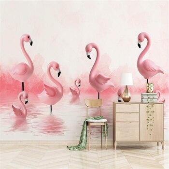Modern Wallpaper Flamingo Children Room Background Wall Minimalist 3d Wallpaper Mural TV Background 3d Wall Mural Wallpaper цена 2017
