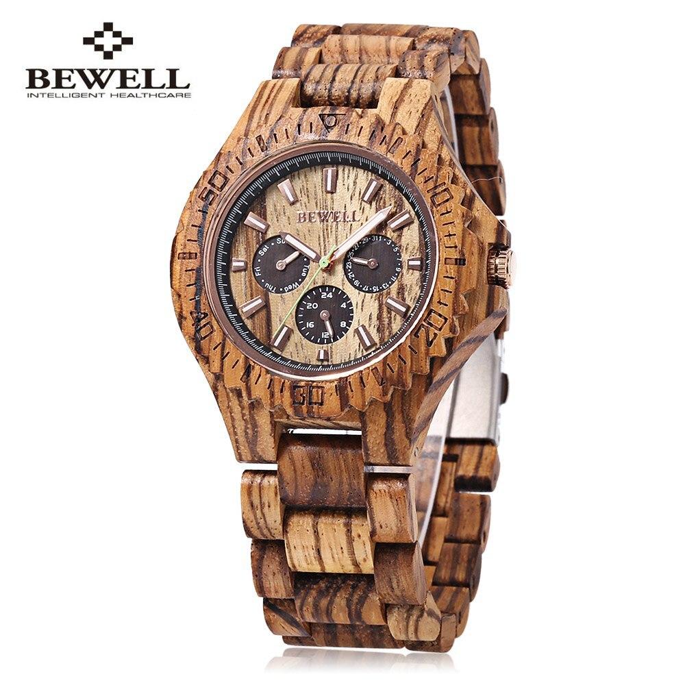 BEWELL Men Wooden Watch Analog Quartz Movement Waterproof Luminous Pointer Dress Watch Elegant Wrist Watch reloj hombre цена и фото