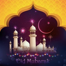 Laeacco Cartoon Mosque Eid Mubarak Scene New Moon  Photography Backgrounds Customized Photographic Backdrops For Photo Studio