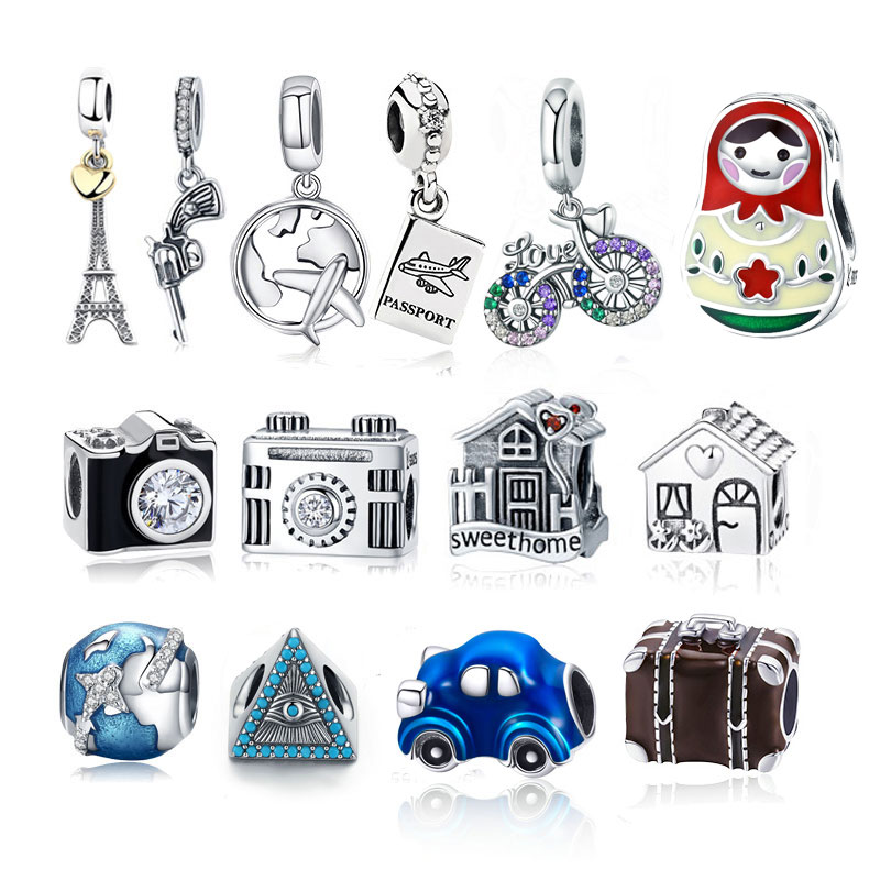 925 Sterling Silver Eiffel Tower House Bicyle Bike Earth World Travel Pendant s925diy Charms Silver 925 Original Bracelet Beads