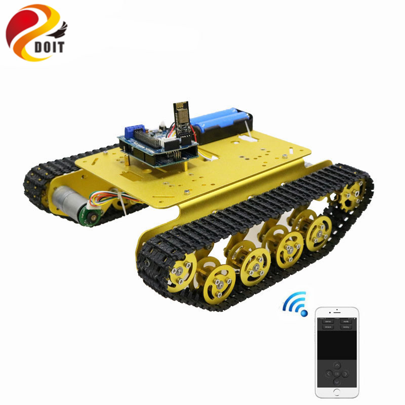 TS100 Wifi/Handle/Bluetooth RC Control Robot Tank Chassis Car Kit for Arduino with UNO R3, 4 Road Motor Driver Board,WiFi Module doit new arrival metal robot 4wd car chassis c101 with four tt motor wheel for arduino uno r3 diy maker eduational teaching kit