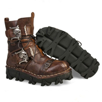 Men's Cowhide Genuine Leather Work Boots Military Combat Boots Gothic Skull Punk Motorcycle Martin Boots 2