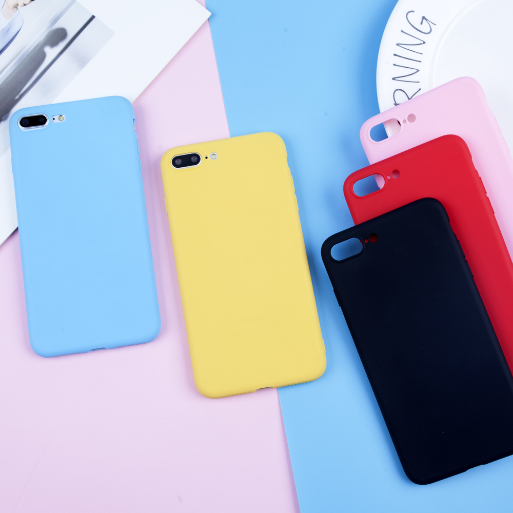 Silicone TPU Case For iPhone 7 6 6s 5 SE 8 Plus X XR XS Max Soft Phone Cover for iPhone 7 Cases Luxury Candy Colorful Ultra Thin in Fitted Cases from Cellphones Telecommunications