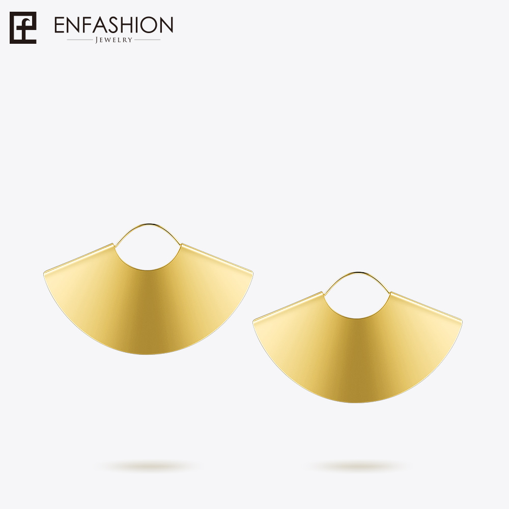 Enfashion Oversize Camber Fan Dangle Earrings Gold color Earings Big Drop Earrings For Women Long Earring Jewelry brinco E5425