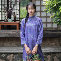 Literary Retro Stand Collar Dress Spring Digital Printing Ramie Linen Chinese Style Women's Small Floral