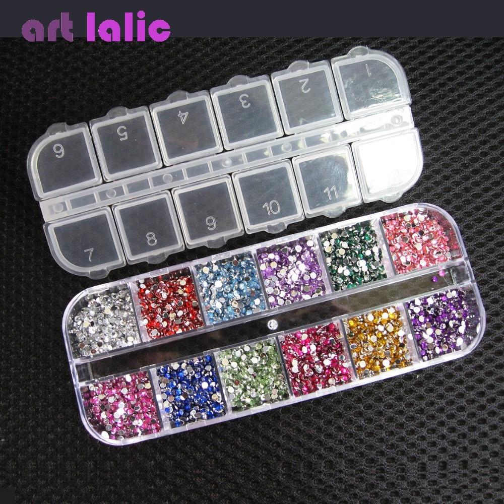 3000pcs 1.5mm Rhinestones Nail Decoración Ronda Glitters de colores - Arte de uñas - foto 2