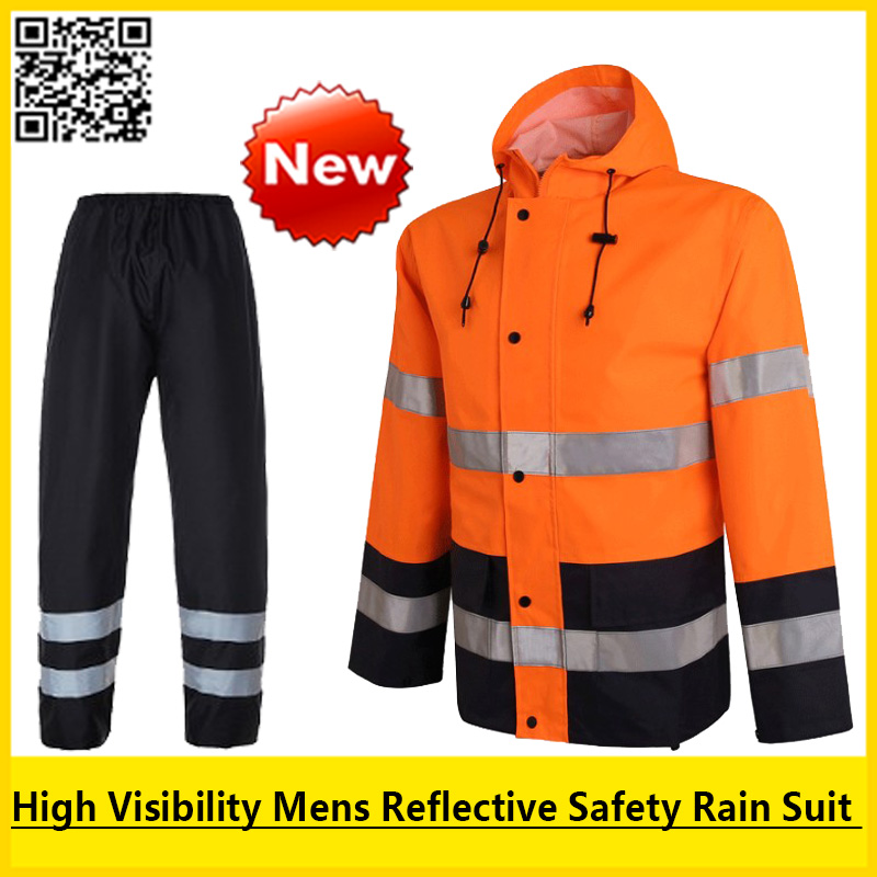 New High visibility Outdoor Rain wear Polyester Waterproof safety reflective rain jacket rain coat pant rain suit workwear new high visibility fashion rainwear rain suit reflective jacket waterproof trousers safety clothing workwear free shipping