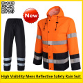 New High visibility Outdoor Rain wear Polyester Waterproof  safety reflective rain jacket rain coat  pant rain suit workwear