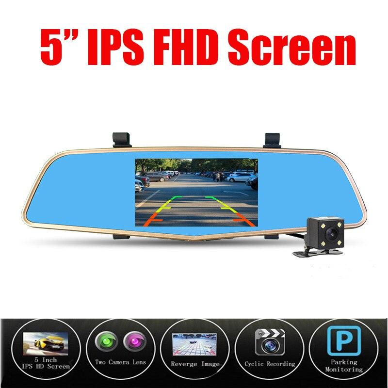 New Car Dvr Camera 5 Inch Mirror Digital Video Recorder Dual Lens Dvr Registrar Camcorder Full