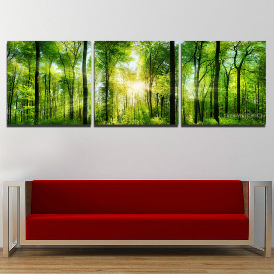 3 panel canvas wall art sunlight green tree forest landscape scenery painting modular picture hd. Black Bedroom Furniture Sets. Home Design Ideas