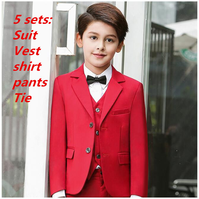 5 sets Boys Suits for Weddings New Arrival Solid red boys wedding suit Formal suit for boy kids wedding suits blazer boy 2017 new children suit baby boys suits kids blazer boys formal suit for wedding boys clothes blazer pants 2pcs 3 12y