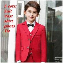 5 sets Niños Trajes para bodas nueva llegada sólido rojo Niños boda traje  formal para niño niños boda Trajes chaqueta del muchac. 76173d36c5e