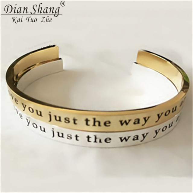 Dianshangkaituozhe 10pcs B045 Mens Bracelet Silver Letter Charm I Love You Just The Way Are