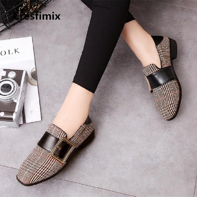Cresfimix 2018 new fashion women casual plaid pu leather flat platform shoes female leisure anti skid cool shoes zapatos a579 цены онлайн