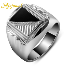 Size 8-11 Fashion Jewelry 18K White Gold Plated Enamel Black Ring For Men