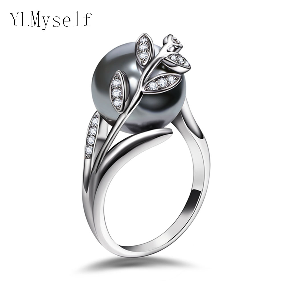 Trendy hot ring with Gray Pearl and cubic zircon Women jewelry dropshipping anel anillos aneis femme statement leaf finger rings