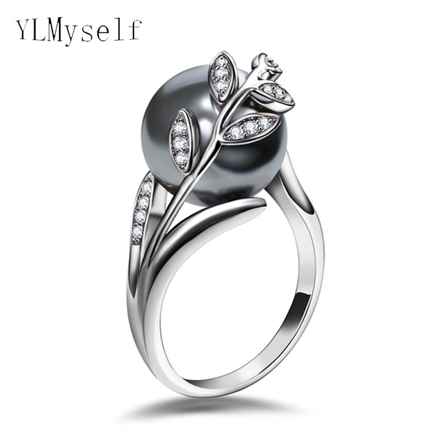 Trendy hot ring with Gray Pearl and cubic zircon Women jewelry dropshipping anel