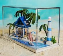 N002 Diy Doll House Miniature Model Building Kits 3D Handmade Wooden Dollhouse Vacation house