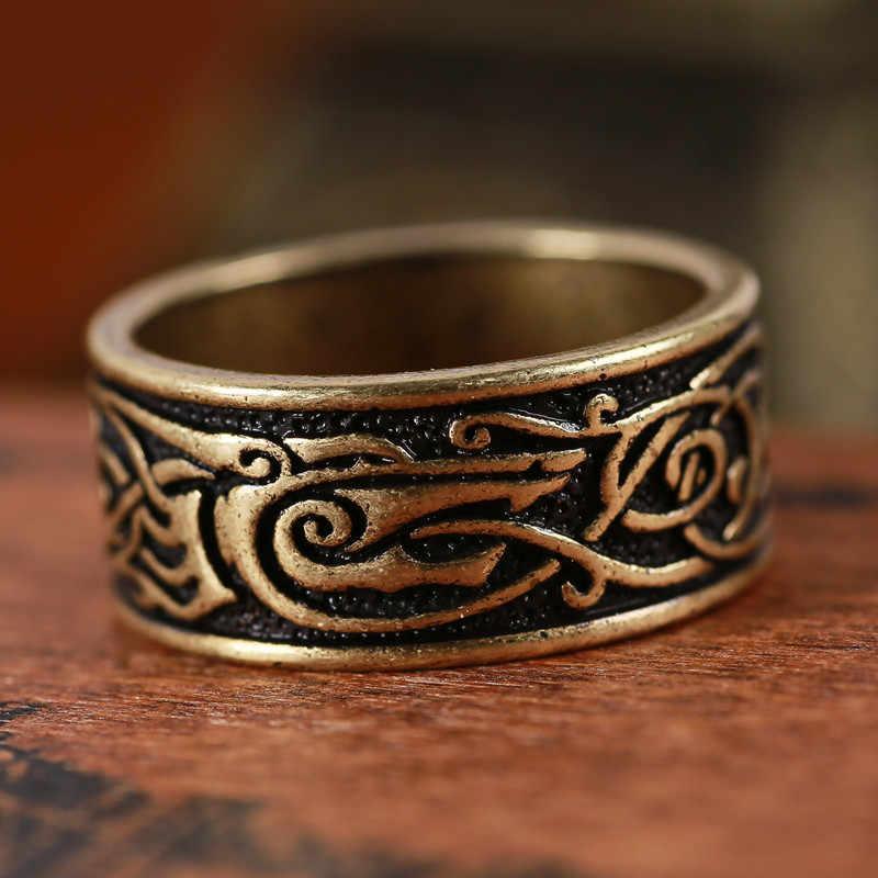 1 шт. этнический Дракон-Викинг кольцо Винтажное кольцо с драконом мужские и женские ANEL Bague Прямая доставка