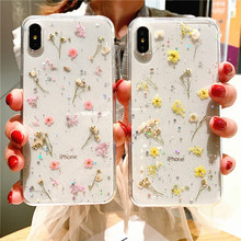 Eternal Flower Dry Flower Phone Case For iPhone7 8 6 7Plus 8Plus Epoxy Transparent TPU Soft Case Phone Case For iPhoneX XR XS