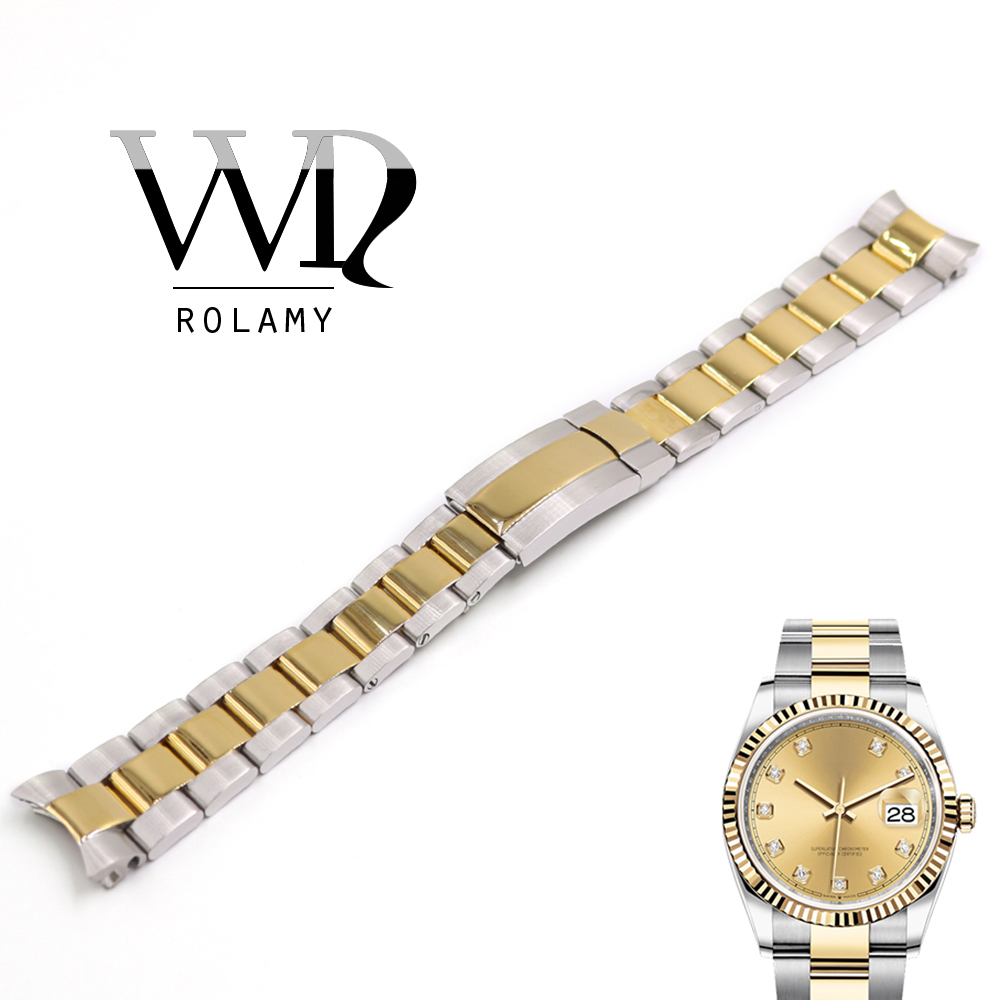 Rolamy Watchbands 20mm Stainless Steel Strap For DATEJUST Solid Curved End Screw Links Replacement Loops Bracelet Watch Band