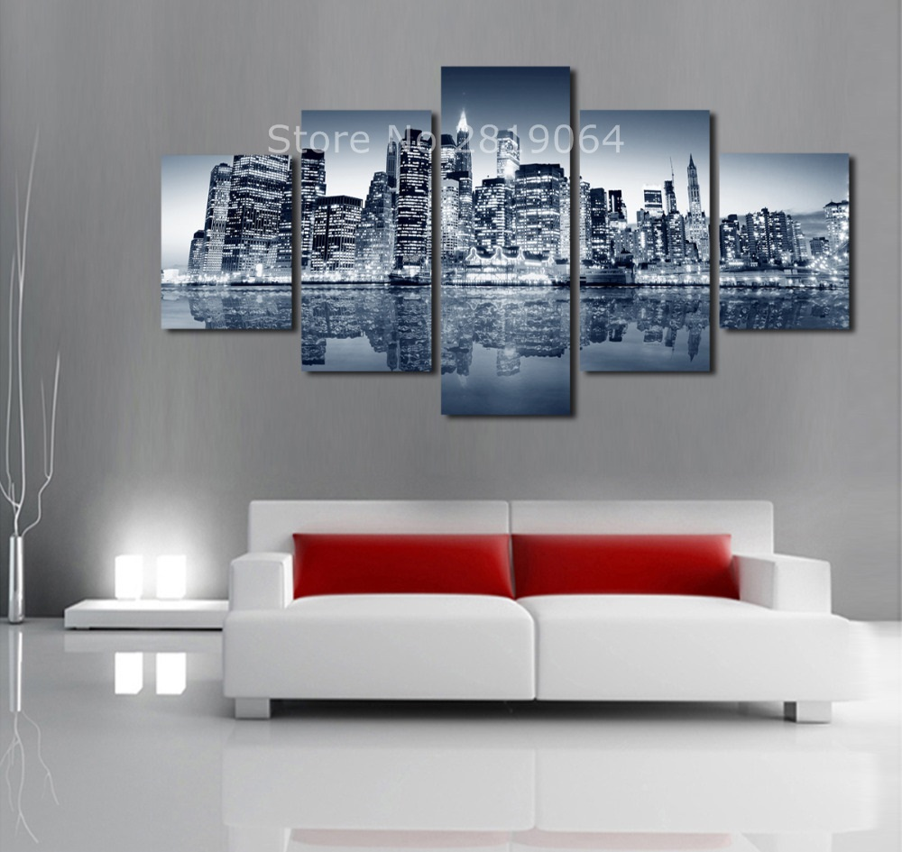 Unframed 5 Panels Abstract Urban Night Scene Canvas Print Painting Modern Canvas Wall Art for Wall Pcture Home Decor Artwork