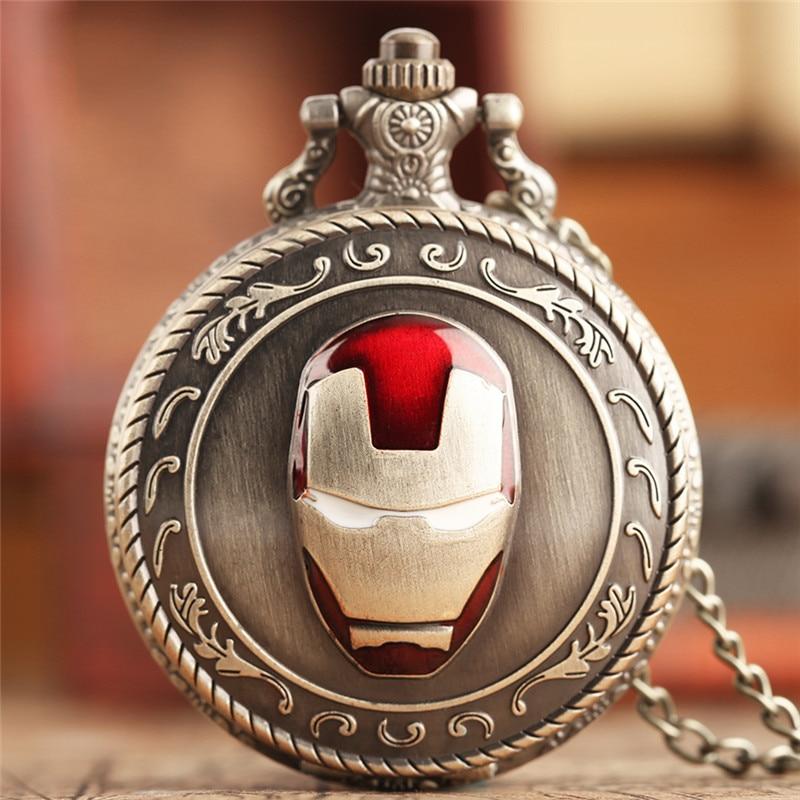 Creative Iron Man Shape Design Pocket Watch Classic Necklace Chain Retro Fashion Men's Women's Pendant Round Dial Hour Clocks