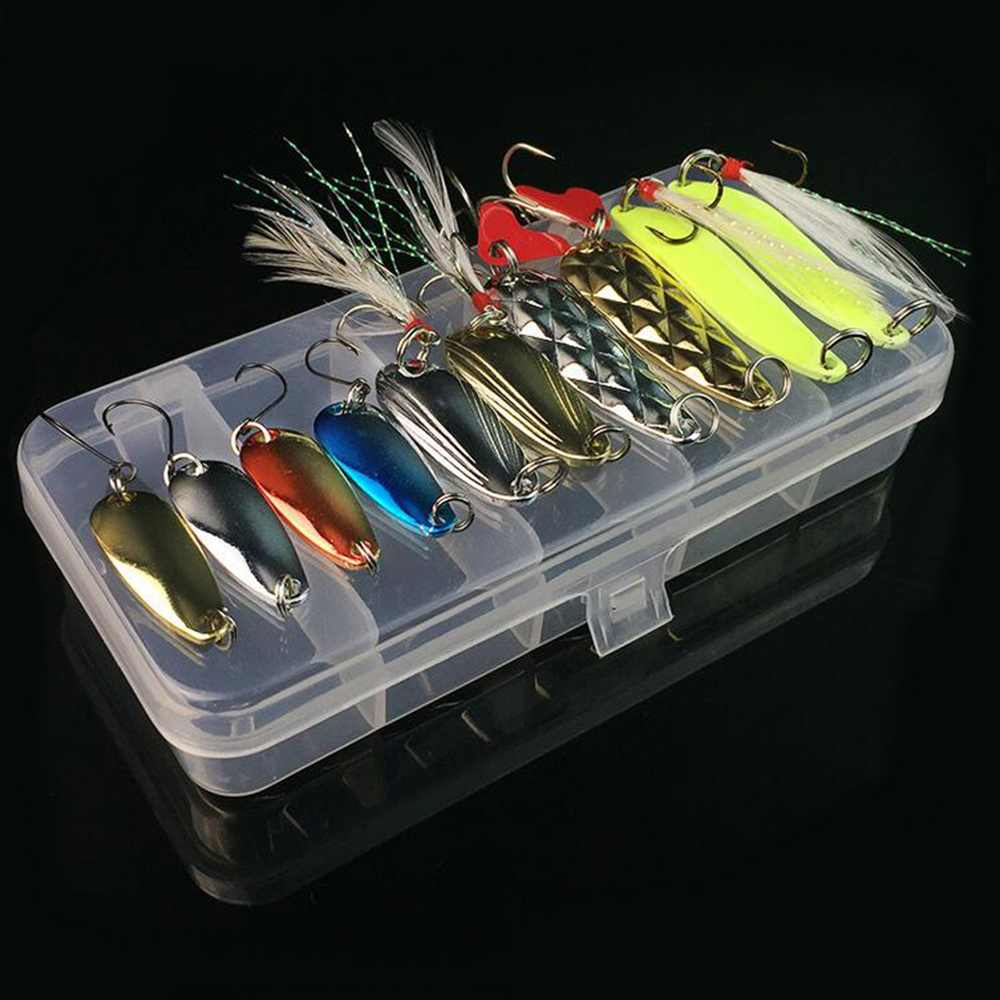 купить 10Pcs/Box Metal Spoon Fishing Lures Set in Plastic Fishing Tackle Box Spinner Bait Spoon Lure Jig Fishing Accessories недорого