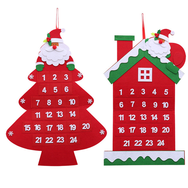 Christmas Countdown 2019.Us 13 44 2019 New Year Christmas Countdown Santa Claus With Tree House Calendar Christmas Hanging Ornaments For Home Decoration Af145 In Advent