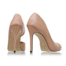 LALA IKAI 2016 Pointed Toe Women Shoes High Heels Rivets Soft Leather Women Pumps Ladies Nude Heels Dress Shoes XWC0544-5