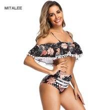 MITALEE Sexy Ruffle High Waist Women Swimwear Summer Bikini Bathing Suits Pompom Push Up Set Beach Wear Biquini Swimsuits