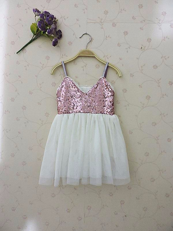 2016 Summer New Children Clothes Girl Dress Sequins Sleeveless Gauze Princess Dress 2-7Y front back both sequins 1533
