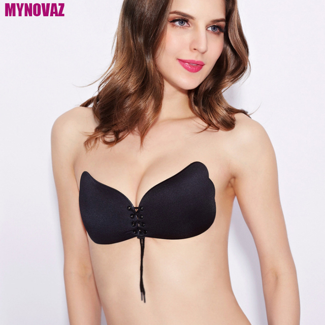 Mynovaz Womens Invisible Y Underwear Bras Strapless Push Up Bra Drawstring Design Wedding Dress Chest