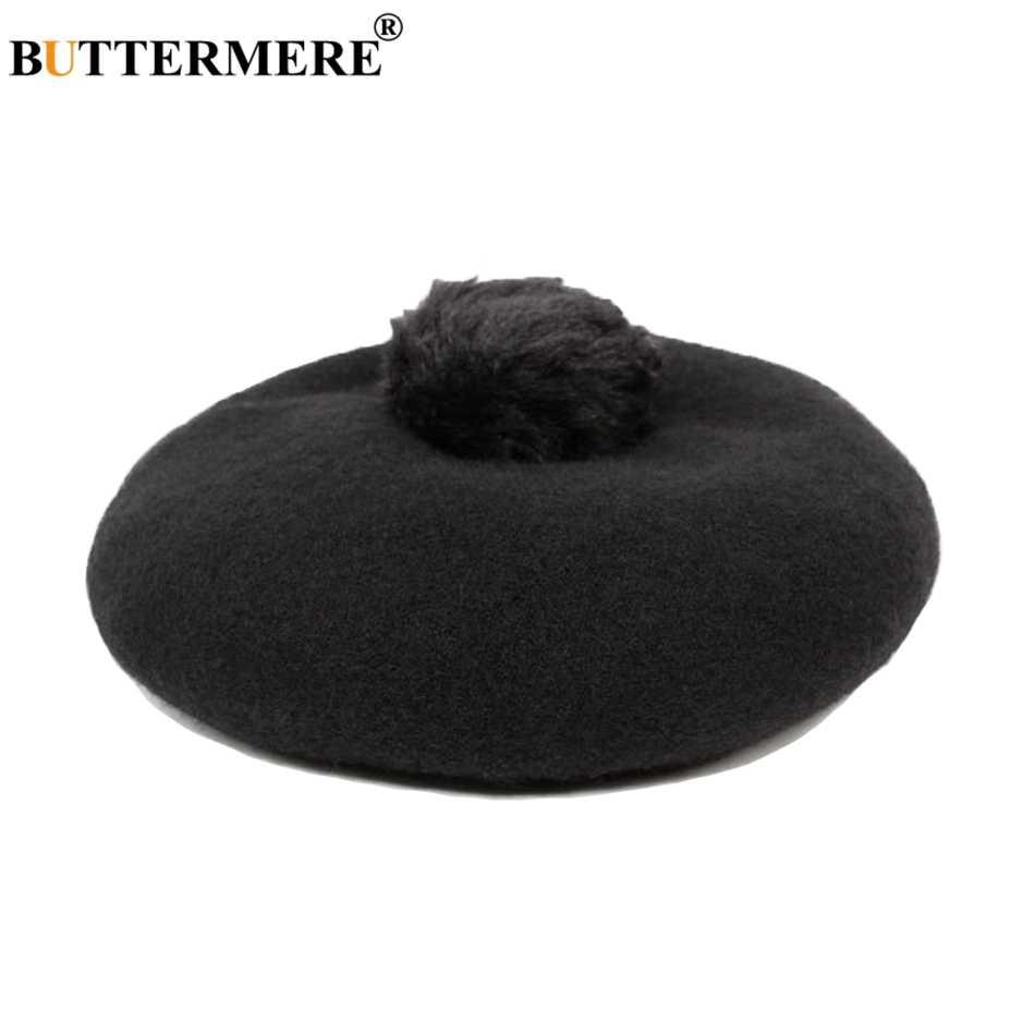 BUTTERMERE женский зимний Берет Шерстяная кепка розовые зимние шапки Женская французская шапочка с помпоном однотонная элегантная женская кепка художника черного и серого цвета