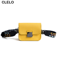 CLELO 2017 Fashion Mini Small Yellow Bag For Girls Sweet Women Print Strap Belt Shoulder Bags