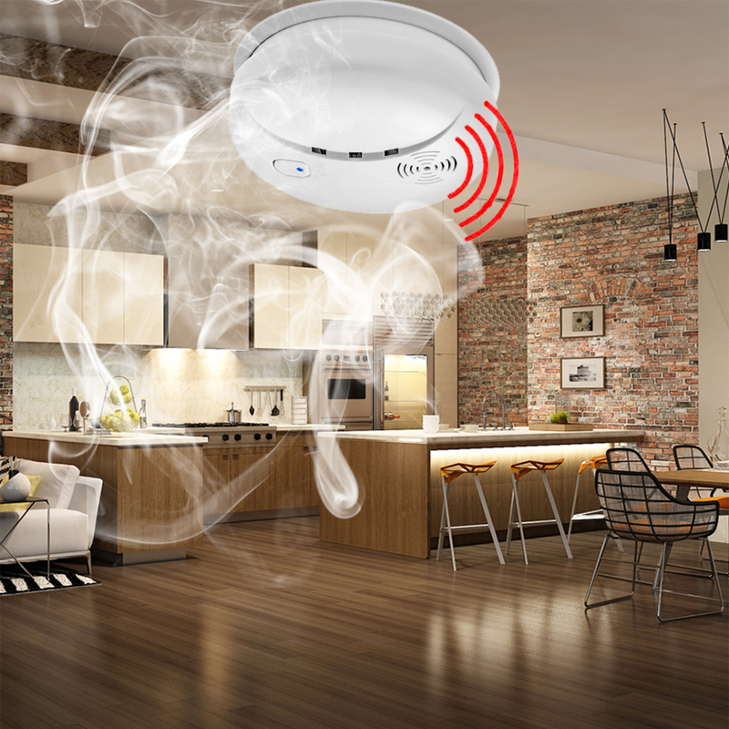 kitchen smoke detector drawer liners daytech sensor fire alarm alert for restaurant hotel cafe 85db voice in from security