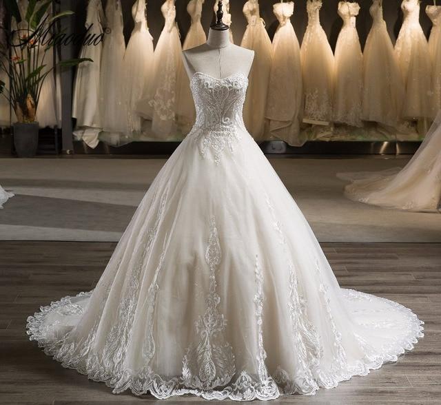 Miaoduo 2018 Wedding Dresses Elegant Beads Corset Wedding Gowns Plus