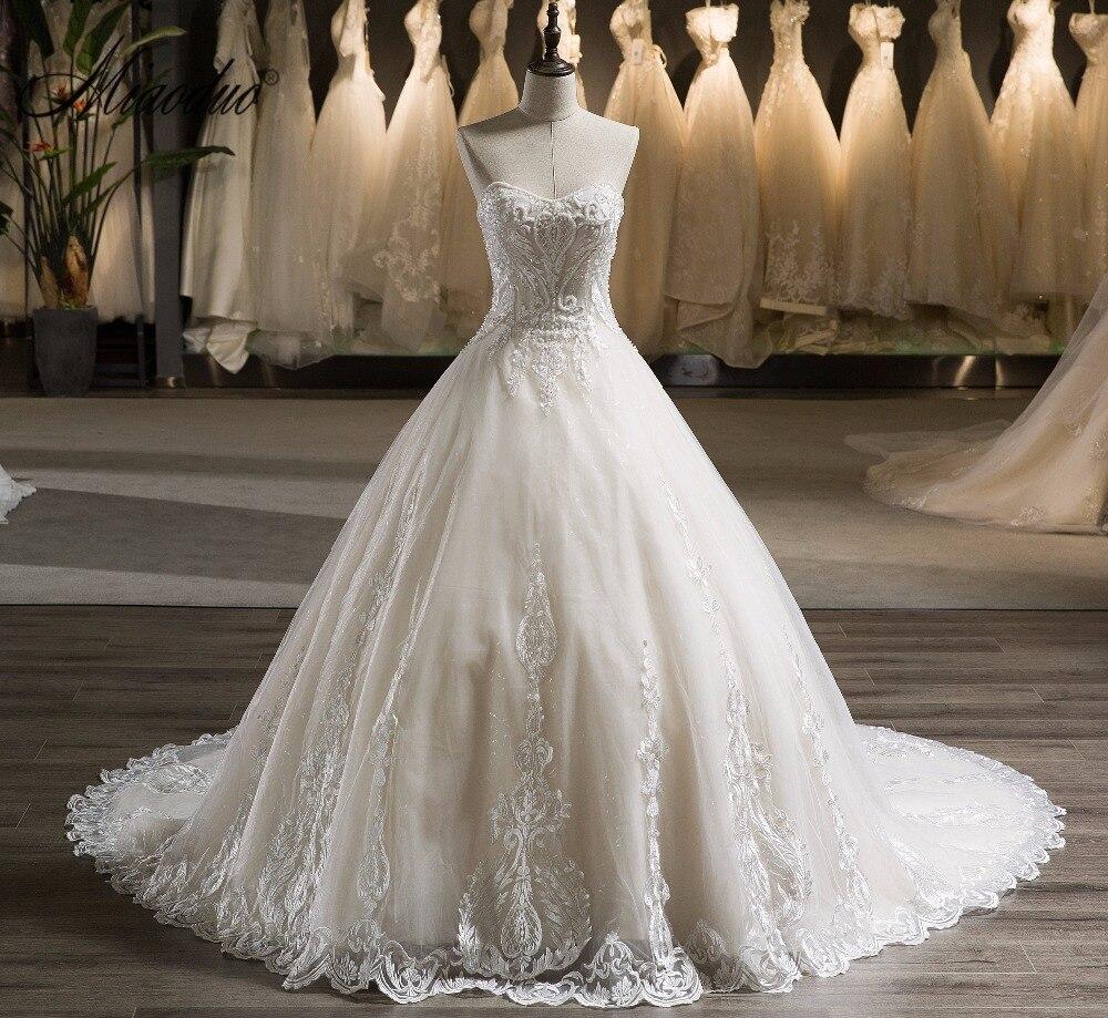 Miaoduo 2018 Wedding Dresses elegant Beads Corset Wedding Gowns Plus Size Bridal Gown Turkey vestido de noiva princesa trouwjurk