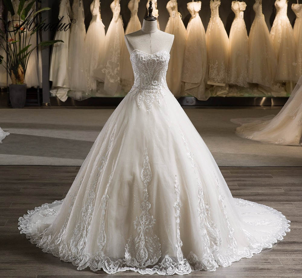 Miaoduo 2018 vestuvių suknelės elegantiškas karoliukai korsetai - Vestuvių suknelės