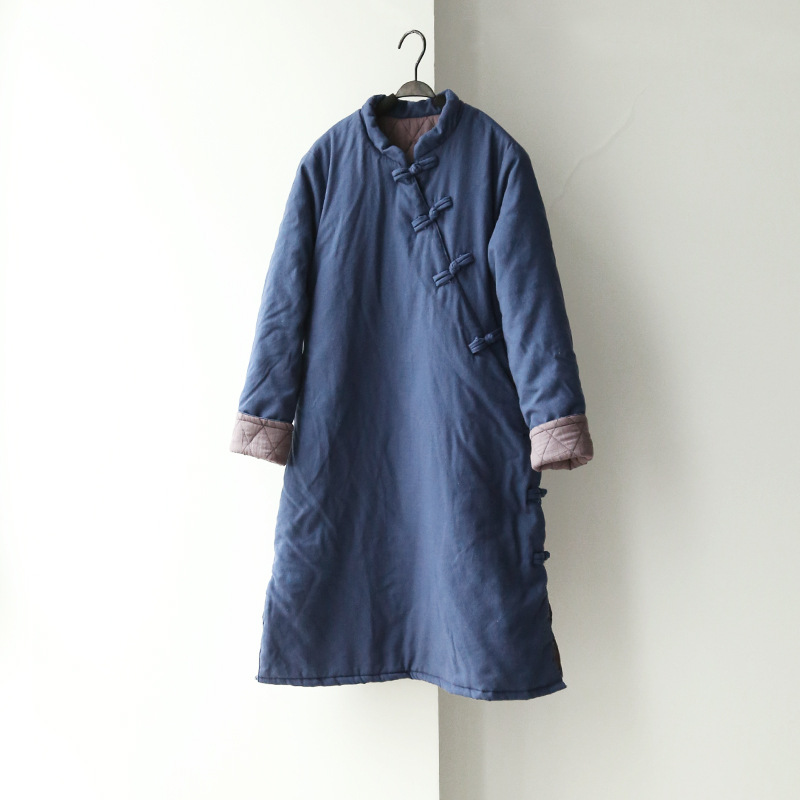 Women Retro Chinese style Cotton Linen Thick Padded Coat Ladies Padded Female Handmade Button Overcoat Outwear