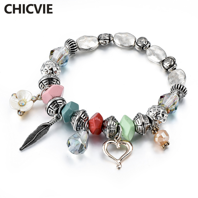 Купить chicvie love flower браслеты из нержавеющей стали с бусинами