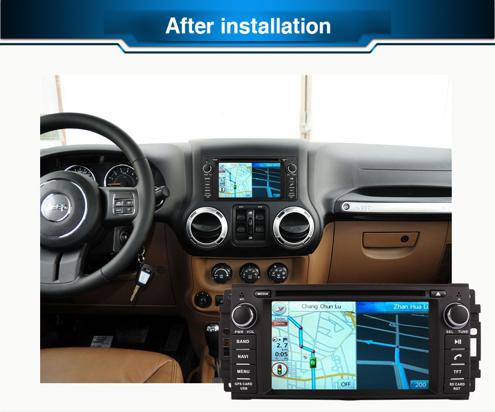 Octa / Quad Core Android Fit JEEP COMMANDER, WRANGLER Avtomobilski DVD predvajalnik Navigacija GPS TV 3G Radio