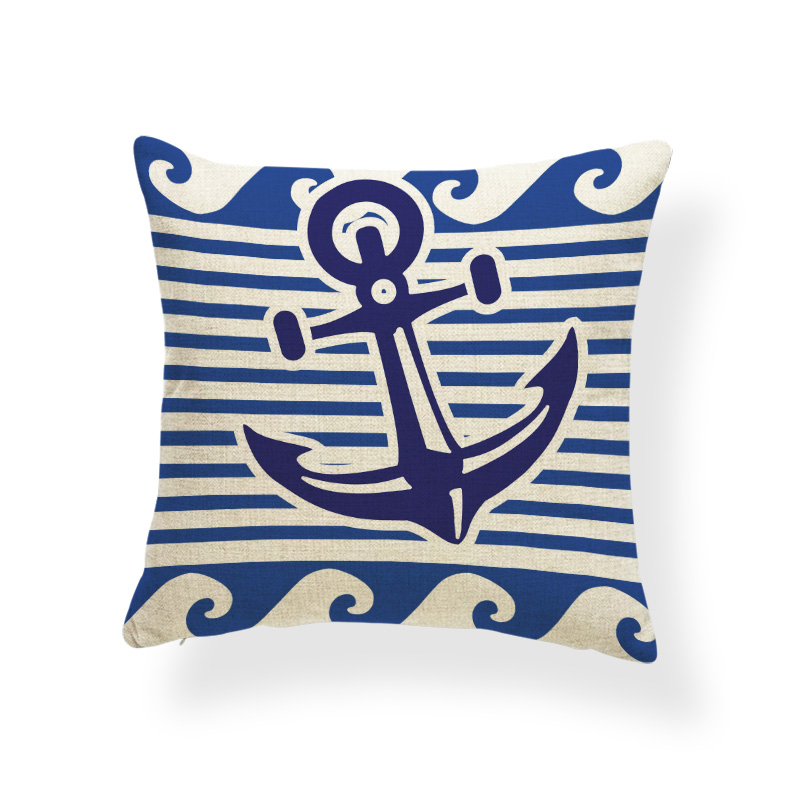 Rudder Cushion Cover Geometry Pilow Ocean Style Lounger Chair Decorativa Stripe Checkered Pillowslip Covers Swim Ring 43cm Linen