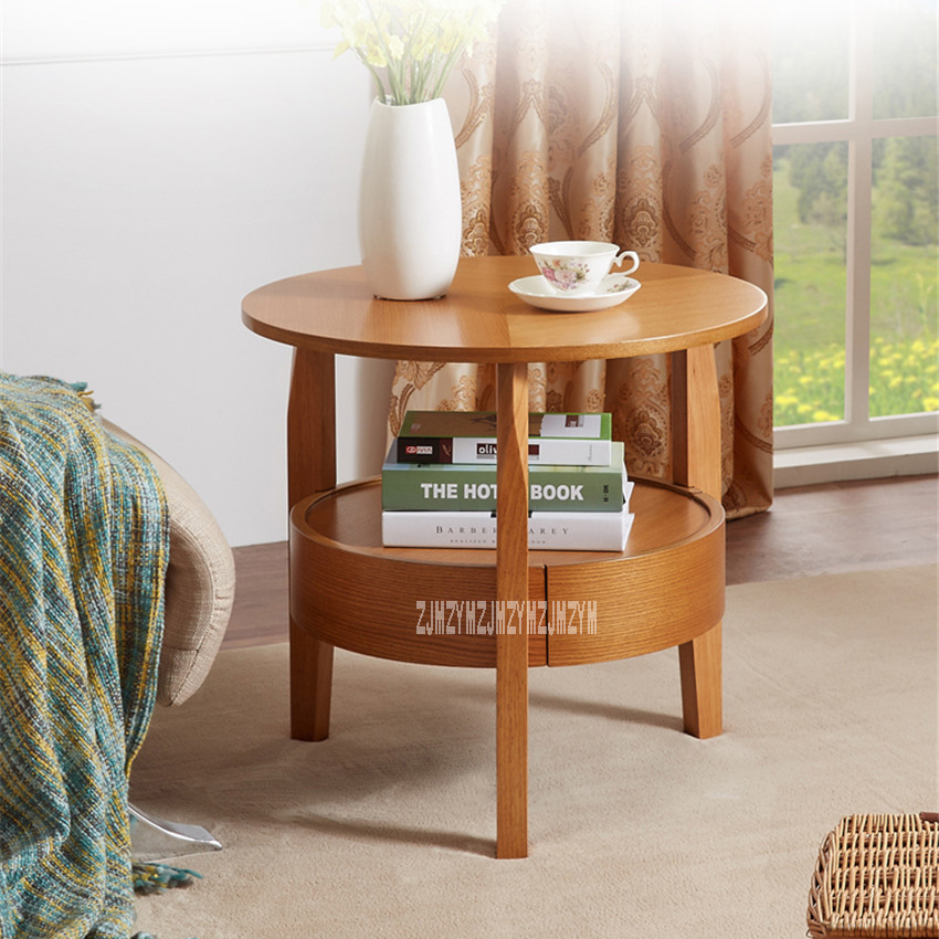 XJ-82028 Small Solid Wooden Round Table Mini Tea Table Living Room Storage Cabinet Corner Coffee Table Sofa Side Table 1-Drawer